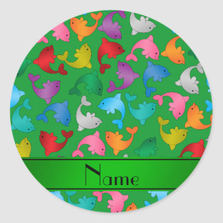 Personalized name green rainbow dolphins classic round sticker