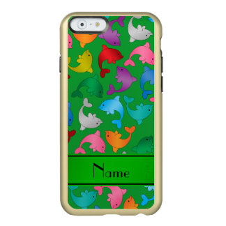 Personalized name green rainbow dolphins incipio feather shine iPhone 6 case
