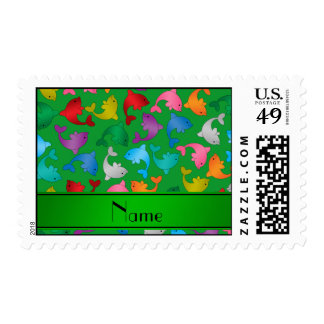 Personalized name green rainbow dolphins postage