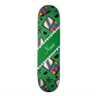 Personalized name green rainbow eyeshadow skate deck