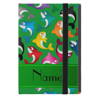 Personalized name green rainbow killer whales cover for iPad mini