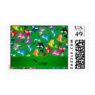 Personalized name green rainbow killer whales postage