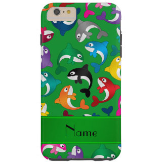 Personalized name green rainbow killer whales tough iPhone 6 plus case