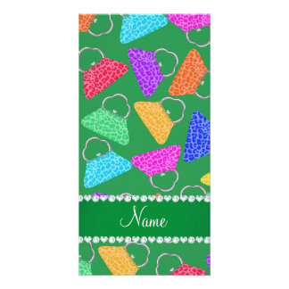 Personalized name green rainbow leopard purses photo card