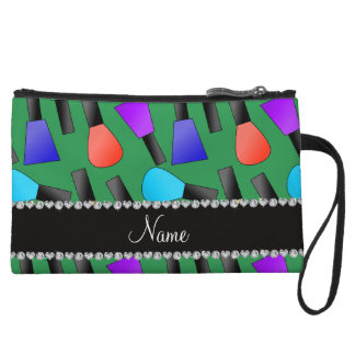 Personalized name green rainbow nail polish wristlet clutches