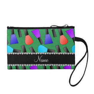 Personalized name green rainbow nail polish coin purse