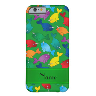 Personalized name green rainbow narwhals barely there iPhone 6 case