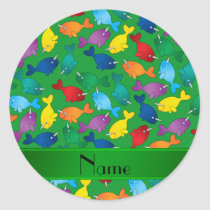 Personalized name green rainbow narwhals classic round sticker