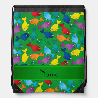 Personalized name green rainbow narwhals drawstring backpack