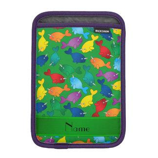 Personalized name green rainbow narwhals iPad mini sleeve