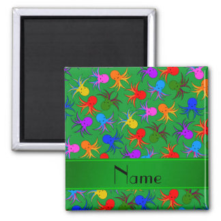 Personalized name green rainbow octopus 2 inch square magnet