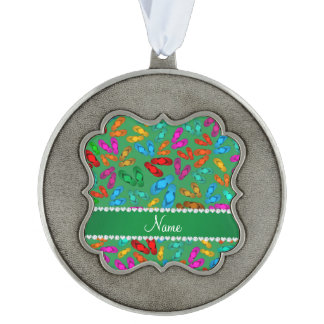 Personalized name green rainbow sandals scalloped pewter christmas ornament