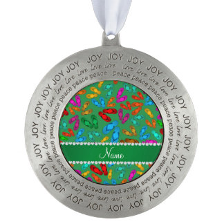 Personalized name green rainbow sandals round pewter christmas ornament