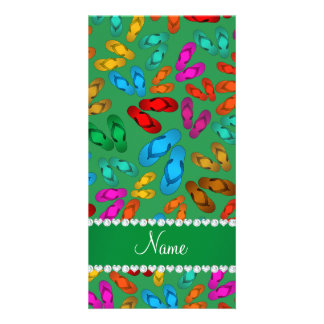 Personalized name green rainbow sandals personalized photo card