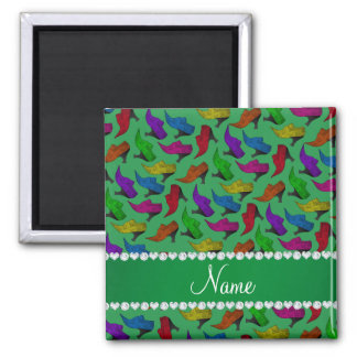Personalized name green rainbow vintage shoes 2 inch square magnet