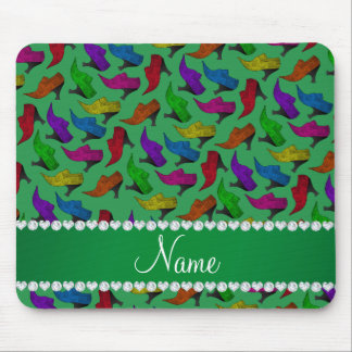 Personalized name green rainbow vintage shoes mouse pad