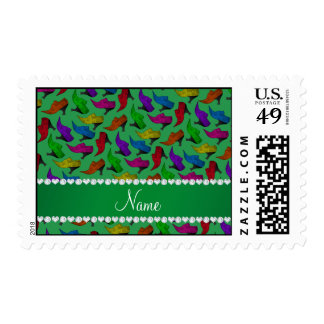 Personalized name green rainbow vintage shoes postage