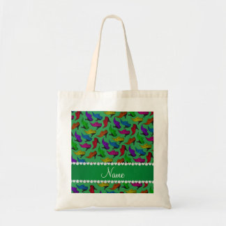 Personalized name green rainbow vintage shoes tote bag
