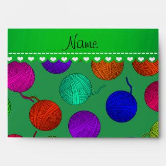 Personalized name green rainbow yarn balls envelopes