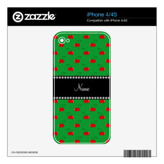 Personalized name green red cherry pattern iPhone 4S decal