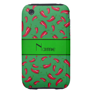 Personalized name green red chili pepper tough iPhone 3 cases