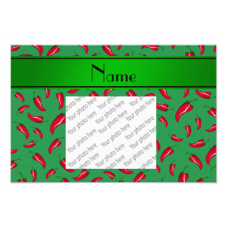 Personalized name green red chili pepper photo print