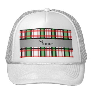 Personalized name green red plaid trucker hat