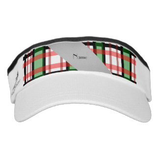 Personalized name green red plaid headsweats visor