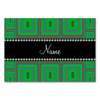 Personalized name green retro colorful squares table cards
