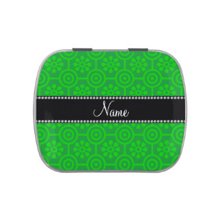 Personalized name green retro flowers candy tin