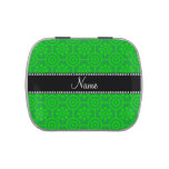 Personalized name green retro flowers candy tins