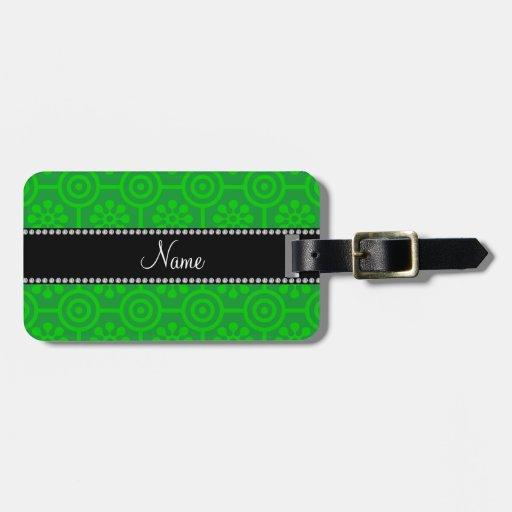 Personalized name green retro flowers luggage tag