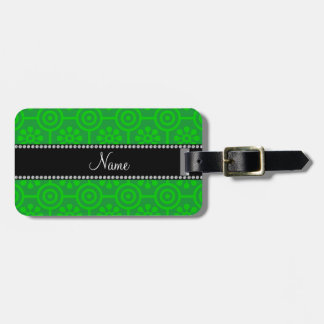 Personalized name green retro flowers tags for luggage