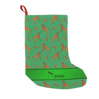 Personalized name green Rhodesian ridgeback dogs Small Christmas Stocking