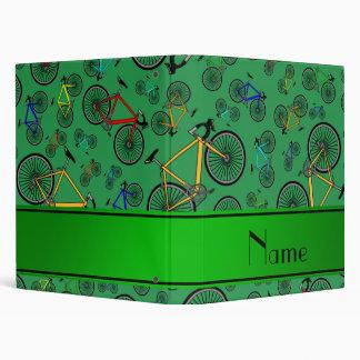 Personalized name green road bikes binders