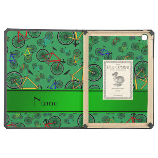 Personalized name green road bikes iPad air cases