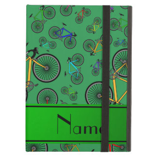 Personalized name green road bikes iPad air covers