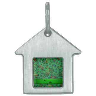 Personalized name green road bikes pet tag