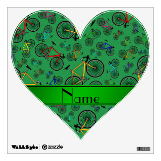 Personalized name green road bikes room decal