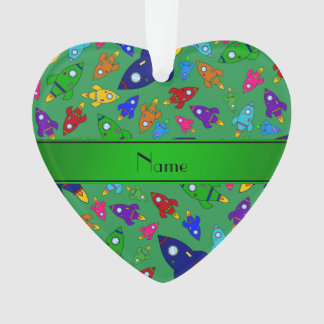 Personalized name green rocket ships