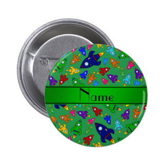 Personalized name green rocket ships pinback buttons