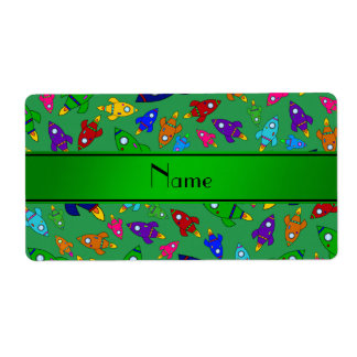 Personalized name green rocket ships custom shipping labels