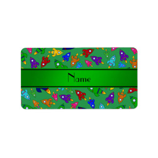 Personalized name green rocket ships custom address labels