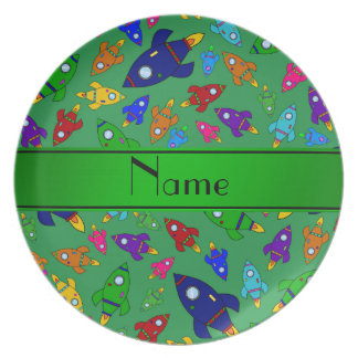 Personalized name green rocket ships party plate