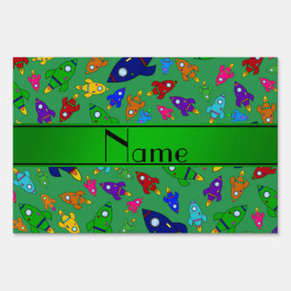 Personalized name green rocket ships signs
