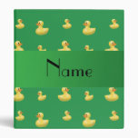 Personalized name green rubber duck pattern 3 ring binder