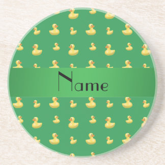 Personalized name green rubber duck pattern beverage coasters