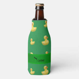 Personalized name green rubber duck pattern bottle cooler