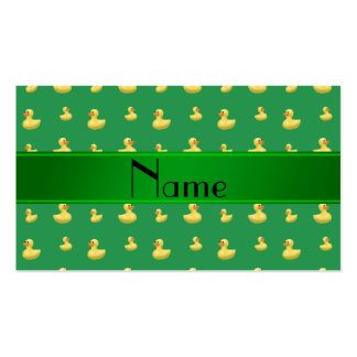 Personalized name green rubber duck pattern business card templates