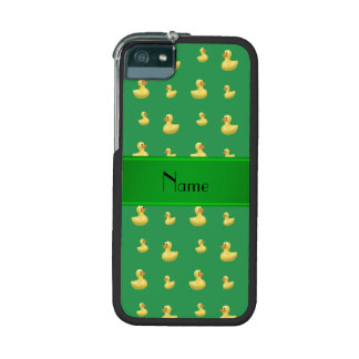 Personalized name green rubber duck pattern iPhone 5/5S covers